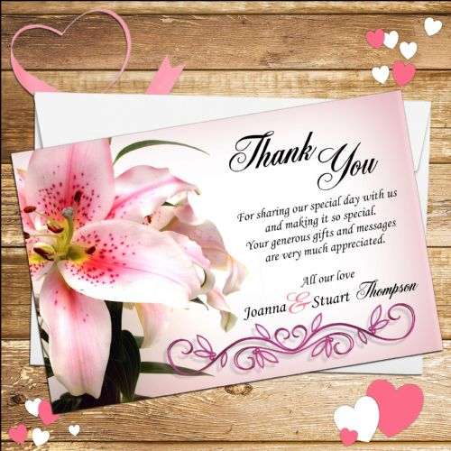 10 Personalised Pink Lily Wedding Thank you cards N4.